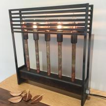 MW Studios Mark Woodham Burnsville NC metalworker woodworker candelabra five light lamp