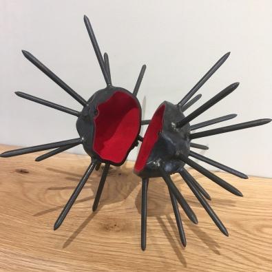 MW Studios Mark Woodham Burnsville NC metalworker woodworker moonrock box spikes red