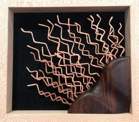 MW Studios Mark Woodham Burnsville NC metalworker woodworker wall hanging black background copper curly maple mahogany