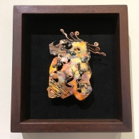 MW Studios Mark Woodham Burnsville NC metalworker woodworker wall hanging peruvian walnut frame black background abstract copper