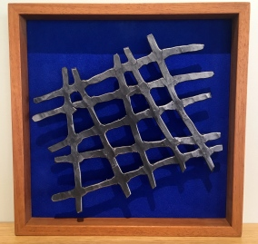 MW Studios Mark Woodham Burnsville NC wall hanging cherry frame royal blue background abstract steel
