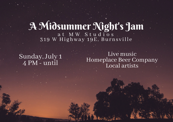 MW Studios metal and wood art event Midsummer Night Jam Homeplace Beer Burnsville NC